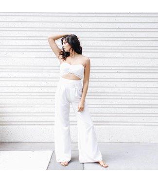 White Lace Strapless Jumpsuit