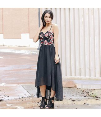 BLACK EMBROIDERED HIGH LOW DRESS