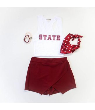 WHITE STATE RACERBACK TOP