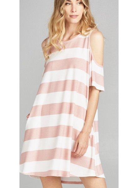 Wide Stripe Cold Shoulder Dress With Side Pocket