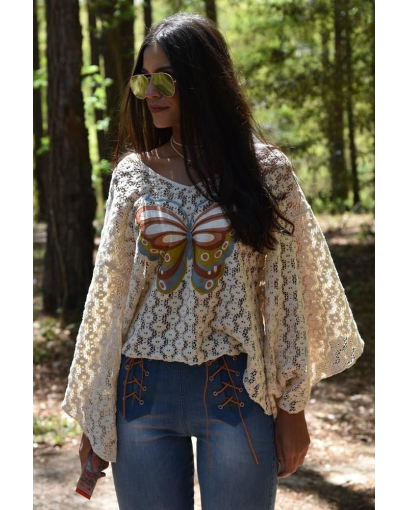 CROCHET TOP WITH BUTTERFLY EMBROID