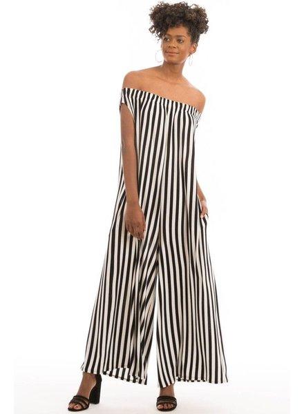8aa5909c7ac off shoulder Striped Jumpsuit Plus
