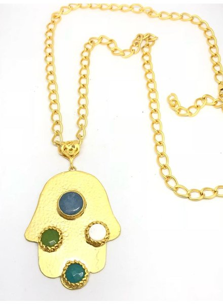 Hamsa Long Necklace Gold Plated