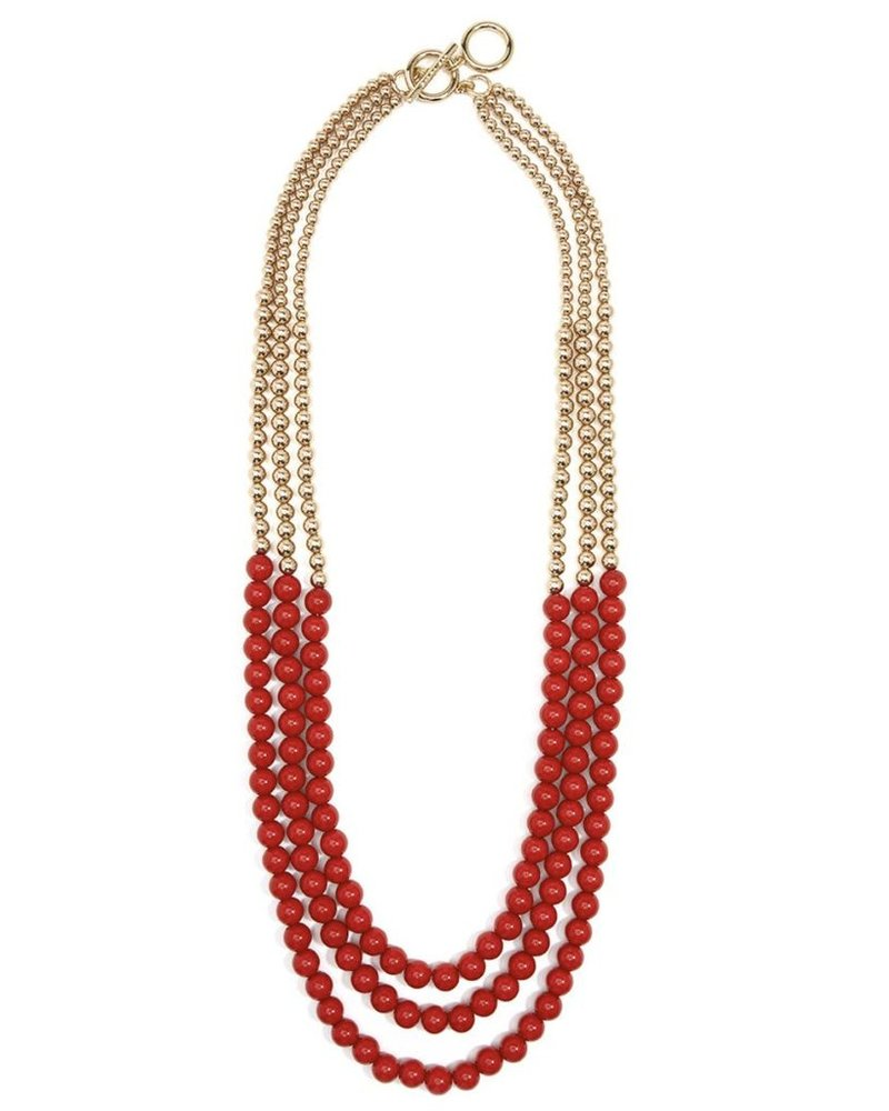 Beaded Metal And Resin Long Necklace