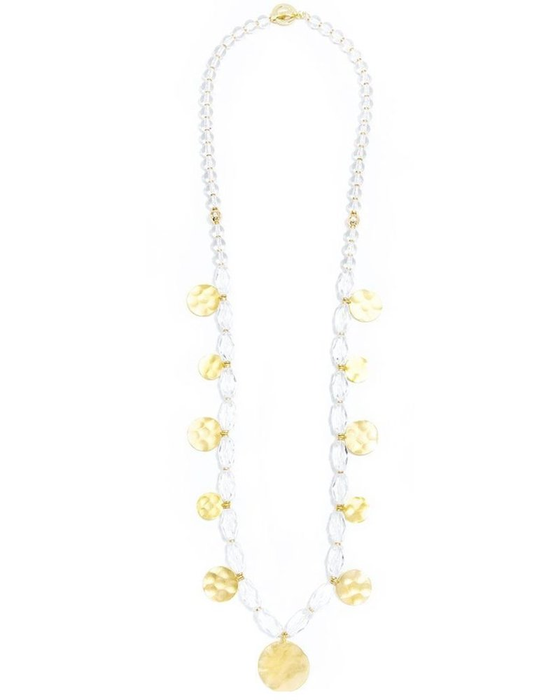 Beaded Lucite And Medallion Long Necklace