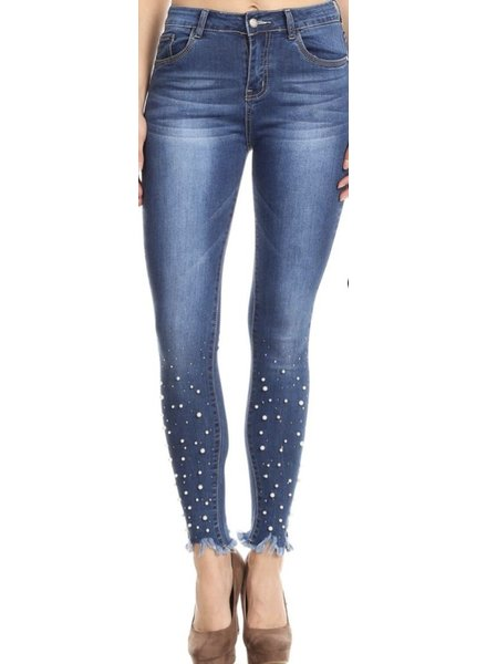 Denim Pants with Pearls