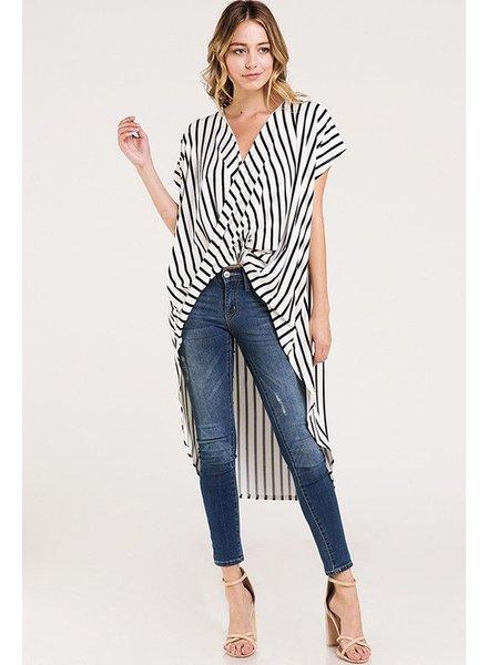 Drape Wrap Stripe High Low Shirt Top