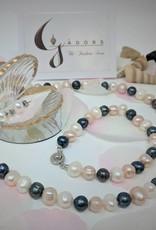 """JN Freshwater Baroque Pearl Jewelry Set, (17"""" Necklace, 7.5"""" Bracelet, Stud Earrings, Heavy Silver Plated)"""