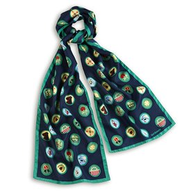 GIRL SCOUTS OF THE USA Vintage Junior Badge Oblong Scarf