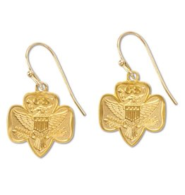 GIRL SCOUTS OF THE USA Trad. Logo Earrings-Goldtone
