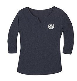 GIRL SCOUTS OF THE USA Navy Jersey Split-Neck T-Shirt LG