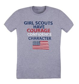 GIRL SCOUTS OF THE USA Courage Confidence Character Grey T-Shirt LG