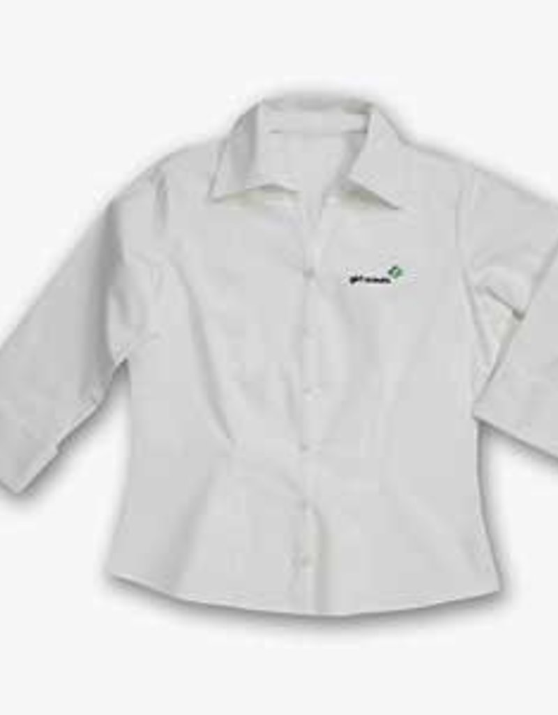GIRL SCOUTS OF THE USA White Twill 3/4 Sleeve Shirt 4X