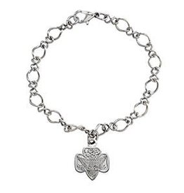 GIRL SCOUTS OF THE USA Traditional Trefoil Charm Bracelet Goldtone