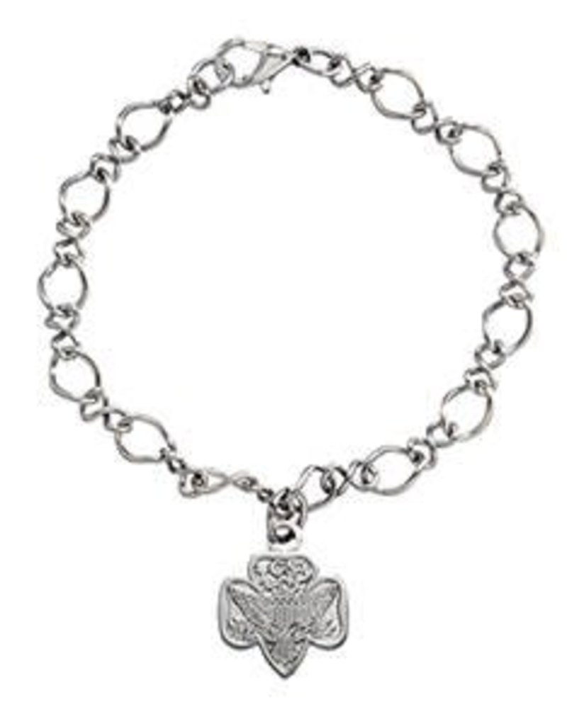 GIRL SCOUTS OF THE USA Traditional Trefoil Charm Bracelet Silvertone