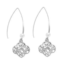 GIRL SCOUTS OF THE USA Filigree Trefoil And Pearl Earrings