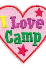 Advantage Emblem & Screen Prnt I Love Camp Pink Heart Fun Patch