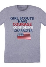 GIRL SCOUTS OF THE USA Courage Confidence Character American Flag Tee Shirt