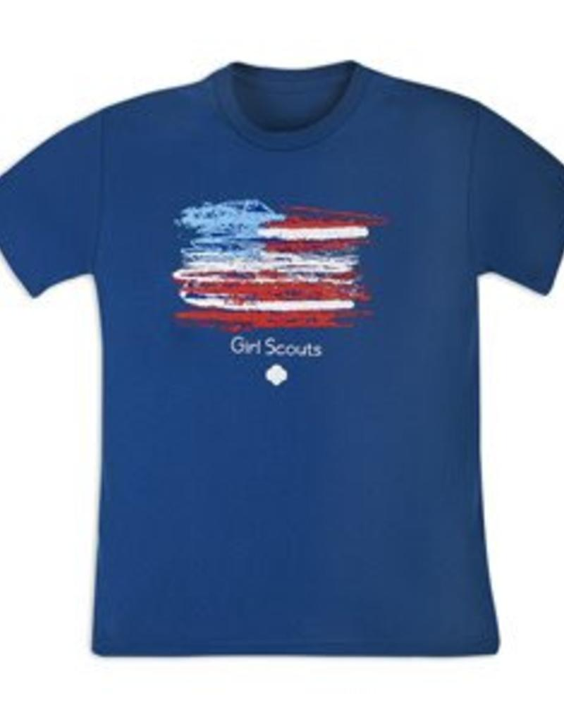 GIRL SCOUTS OF THE USA Girls' American Flag Blue Tee Shirt
