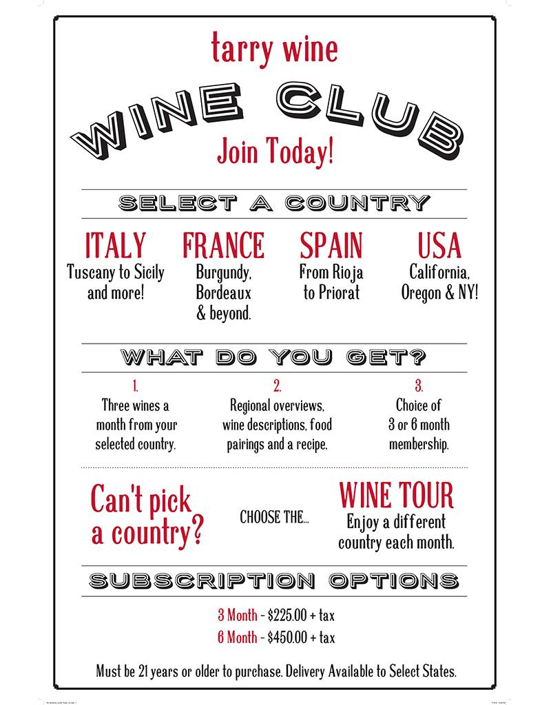 3 Month Subscription to Tarry Wines Italian Regional Wine Club
