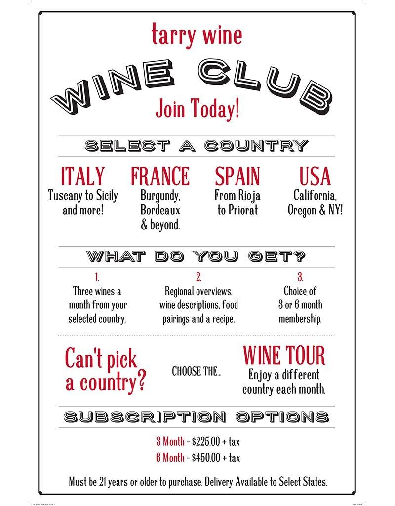 3 Month Subscription to Tarry Wines World Tour Wine Club