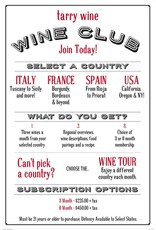 6 Month Subscription to Tarry Wines World Tour Wine Club