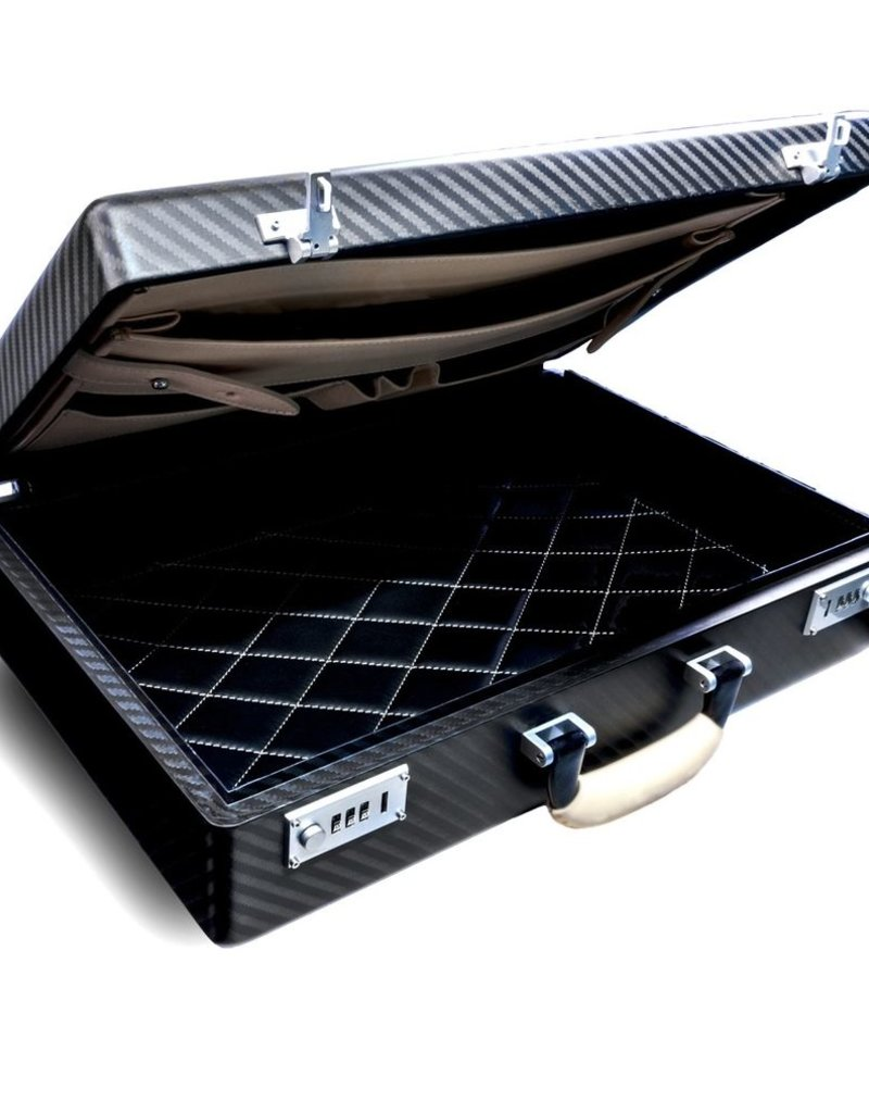 Teckno Monster Carbon Fiber Briefcase Grey-Black Matte with Beige Leather Handle