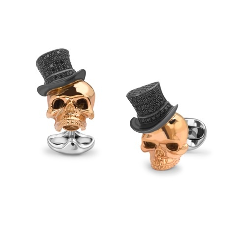 Rose Gold Plated Sterling Silver Skull Cufflinks with Black Spinel Pave Top hat