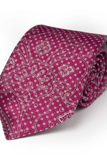 Raspberry Tie with Silver thread, Microdot and Ghost Paisley Pattern