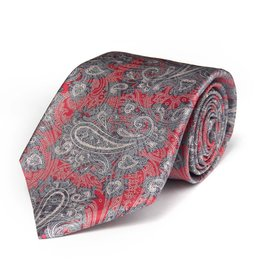 Red & Gray Paisley Satin Tie with Silver Thread