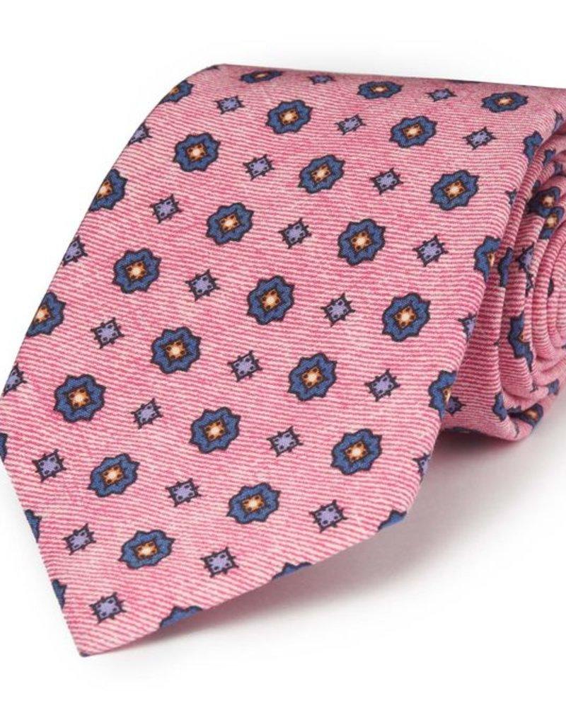 Pink w/Gray Medalion Print Silk/Linen Tie