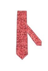 Red Geometric Floral Print Satin Tie