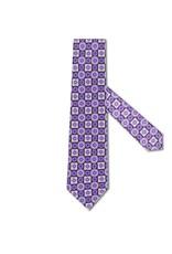 Purple and Black Medalion Print Tie