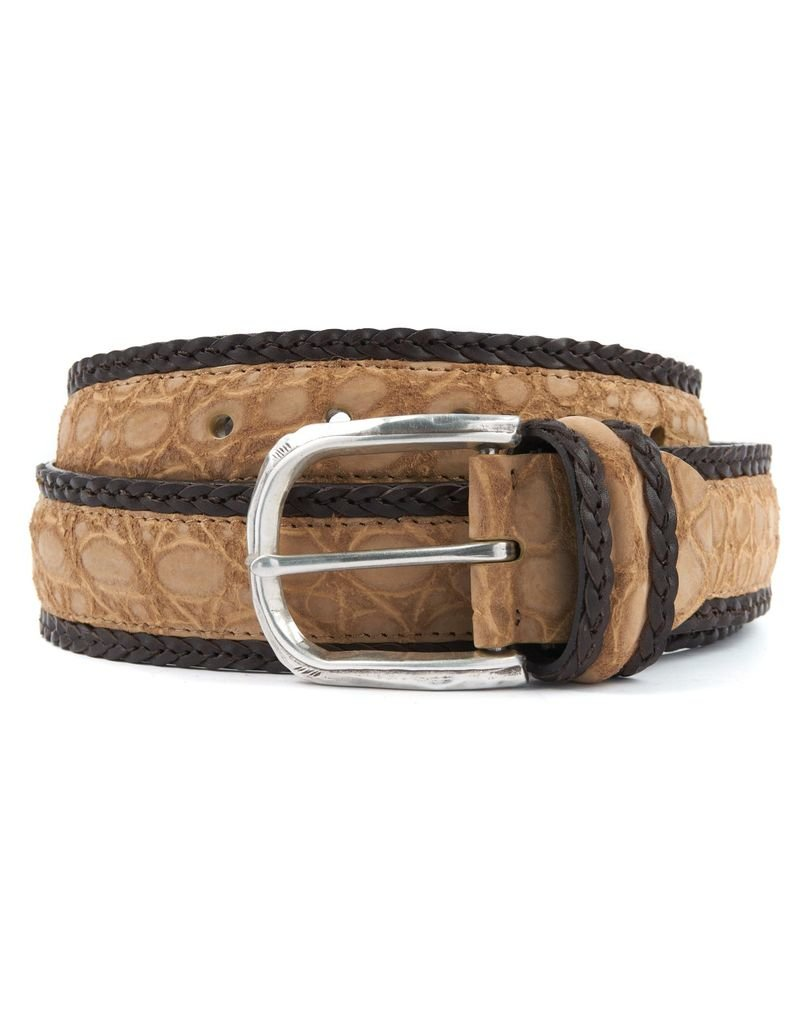 Matte Alligator Belt with Braided Leather Border