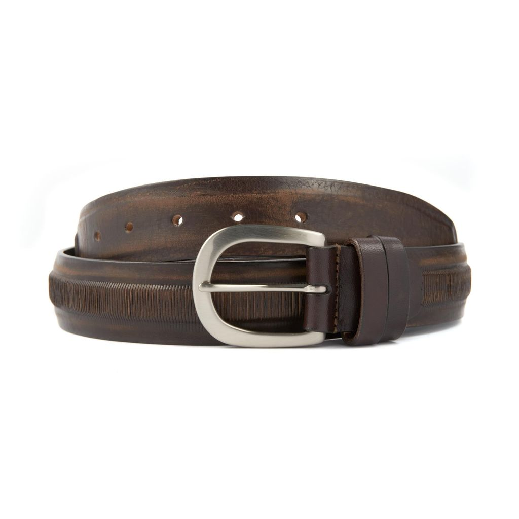 Leather Belt with textured inset
