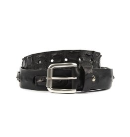 Black Leather belt with interwoven Crocodile Detailing