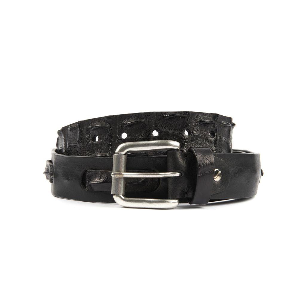 Black Leather belt with interwoven Crocodile Detailing