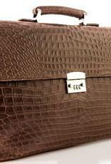 Briefcase Dark Brown Matte Crocodile