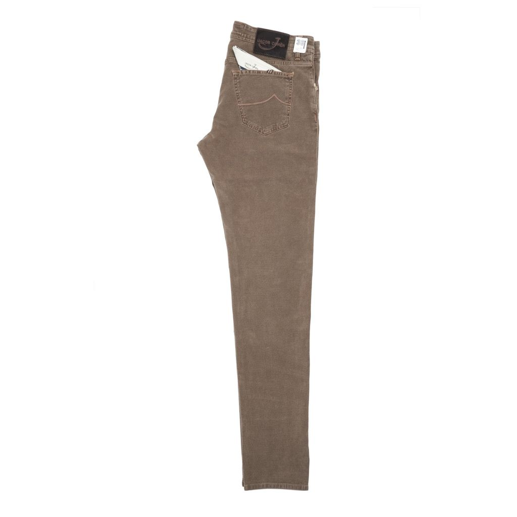 Jacob Cohen Velour Five-pocket Pants, Tan