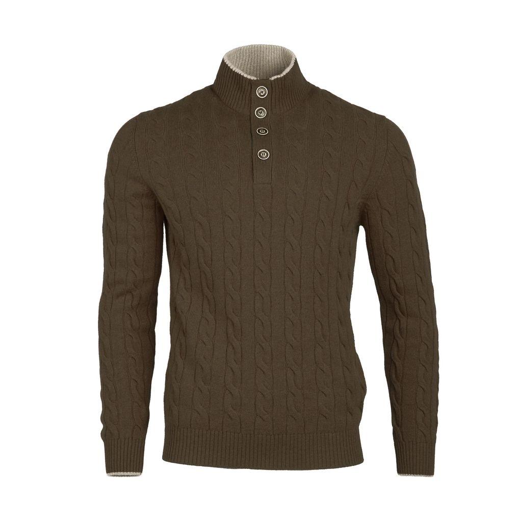 Cable Knit Sweater - Brown - Burdi