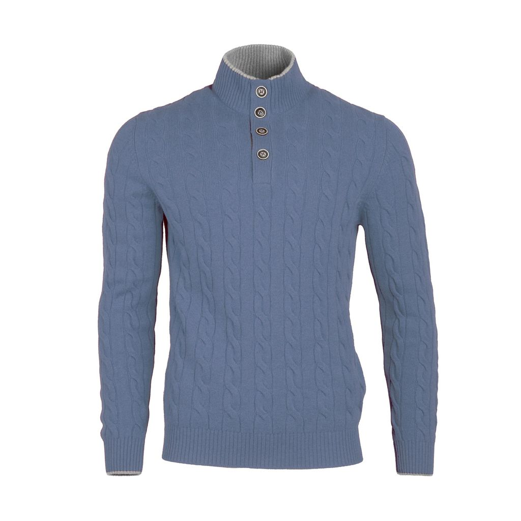 Cable Knit Sweater - Powder Blue - Burdi