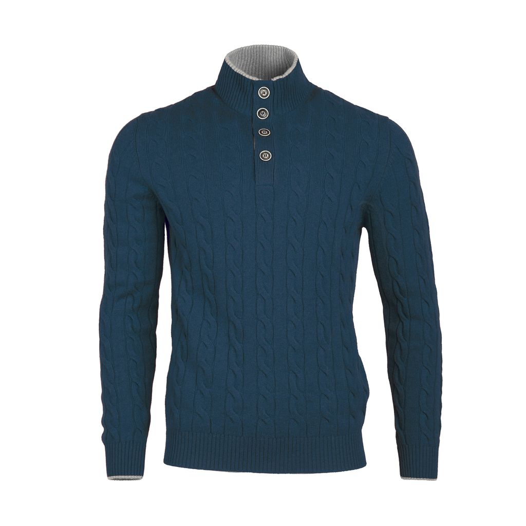 Cable Knit Sweater - Teal - Burdi