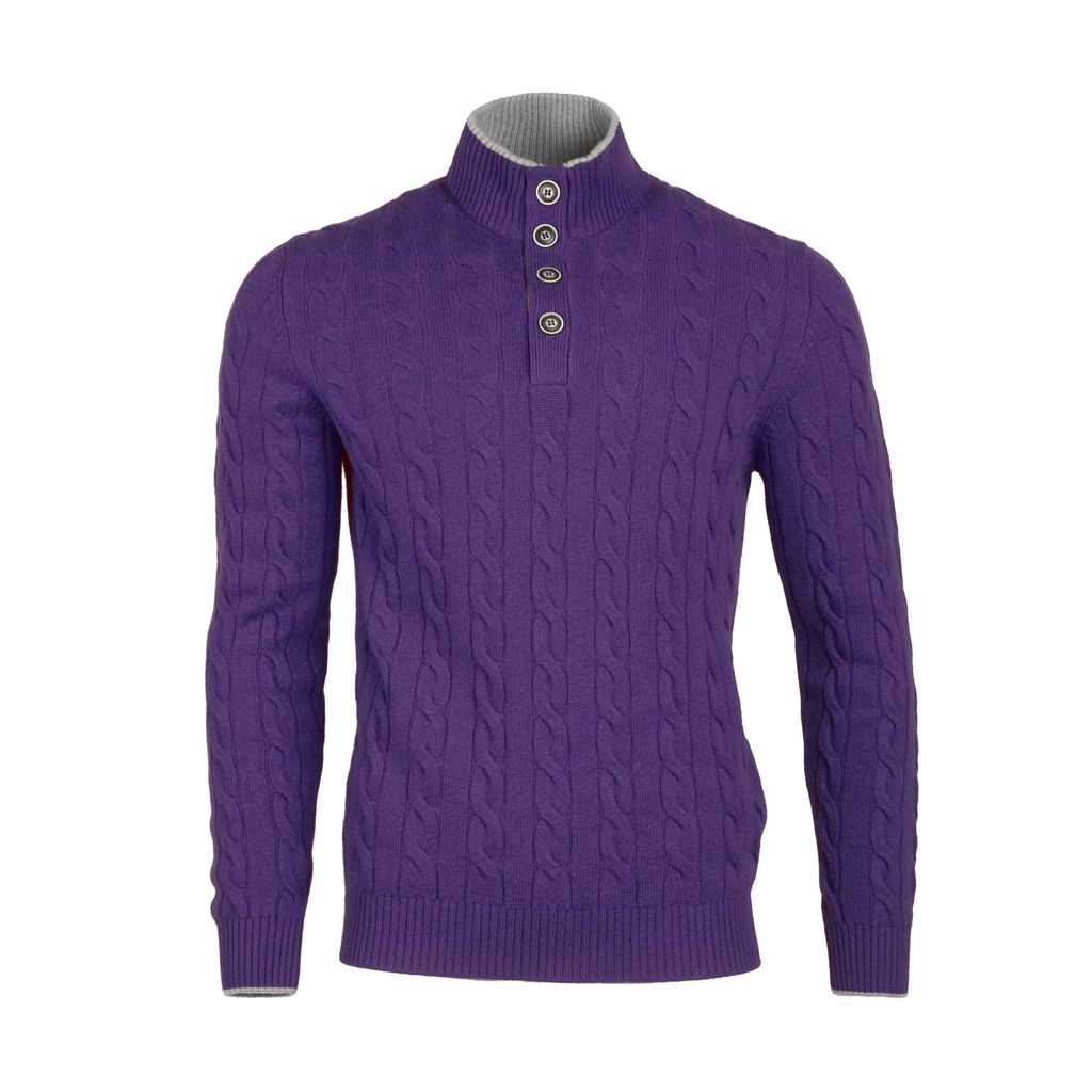 Cable Knit Sweater - Purple - Burdi