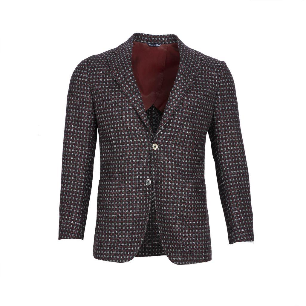 Inclusivo Unstructured Honeycomb Tweed Jacket - Gray & Red