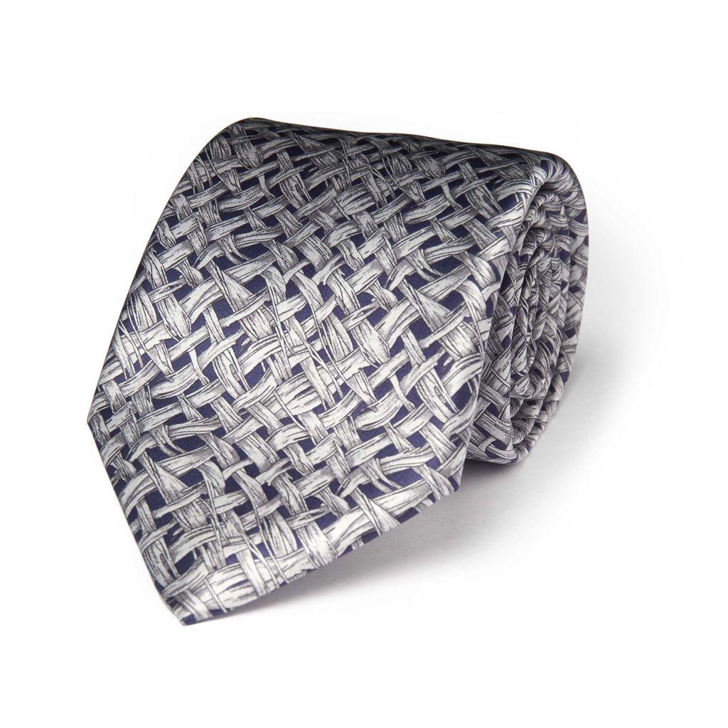 Gray Lattice Print in 100% Silk