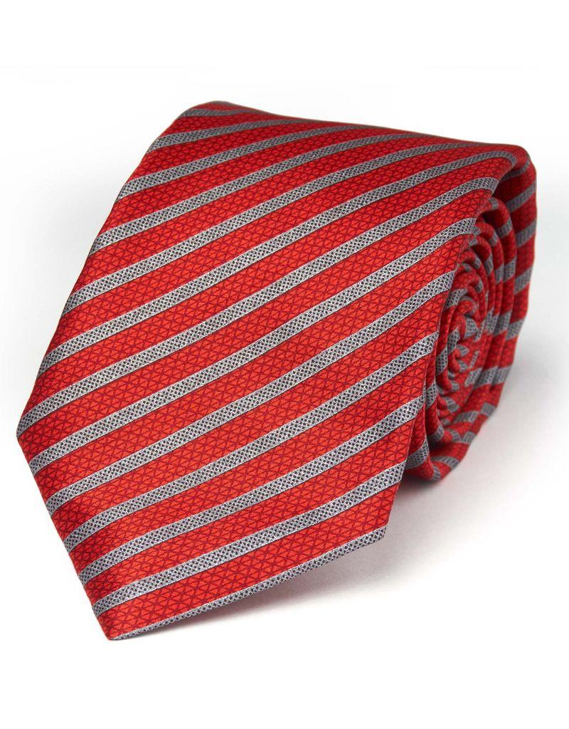Red and Silver Stripe Seven Fold Tie