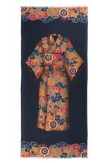 Featherweight Scarf Kimono - Navy & Gold