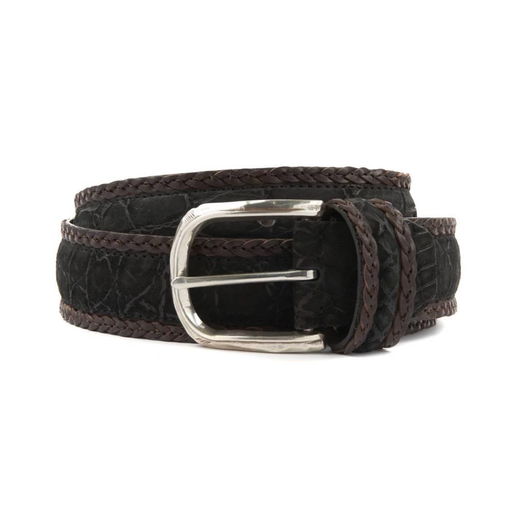 Matte Alligator Belt with Braided Leather Border