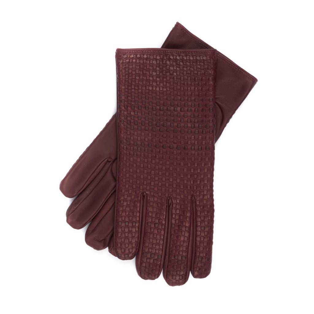 Braided Nappa Leather Gloves, Cashmere lined