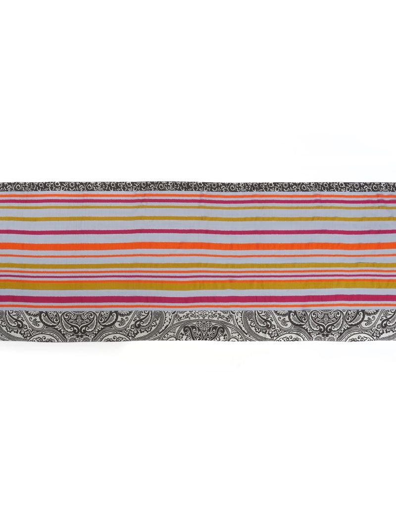 Paisley and Stripe Multicolor Scarf